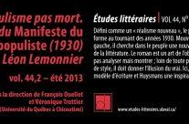 Populisme pas mort. Autour du Manifeste du roman populiste (1930) de Léon Lemonnier