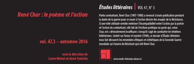 René Char : le poème et l'action