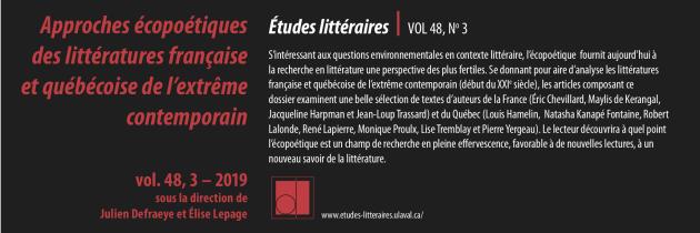 Approches écopoétiques des littératures française et québécoise de l'extrême contemporain